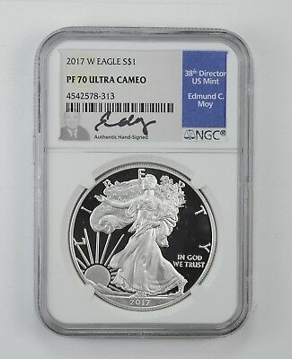 2017-W American Silver Eagle Proof - NGC PF70 UCAM Moy Signed *625