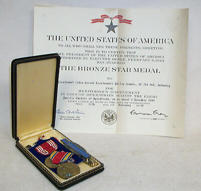 WWII US Army Bronze Star Medal & Award Document+misc Medals Named 1944 Pacific