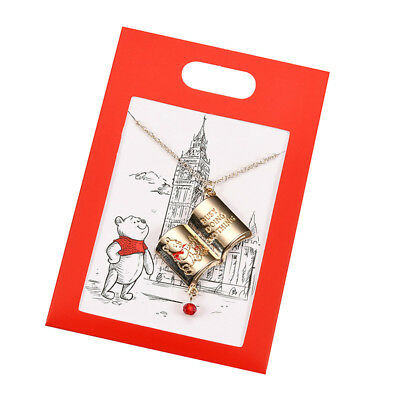 Winnie the Pooh Necklace w/ Message Card Christopher Robin Disney Store Japan