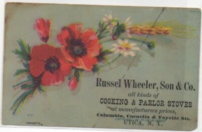 Russel Wheeler Cooking & Parlor Stoves Utica NY Adv Victorian Trade Card  c1880s