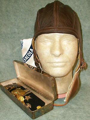 WWII US Navy Pilots Flight helmet, Wings, Misc Pins, Named Presentation box,etc