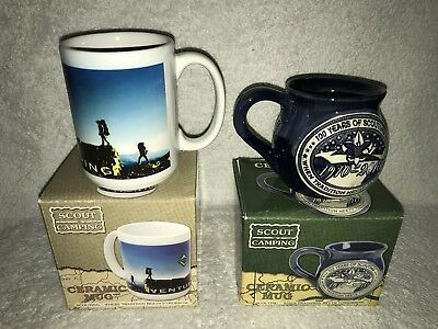2 Boy Scouts Of America BSA Official 12oz Camping Ceramic Coffee Mug Cup LOT