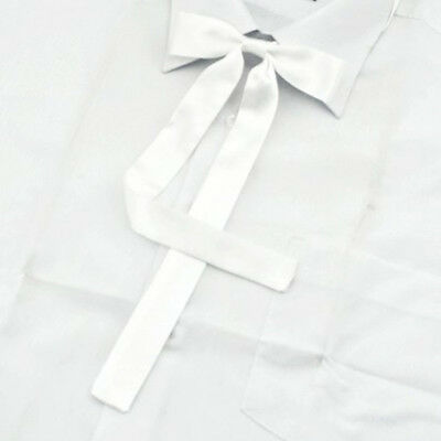 3.2Women Girl Sailor School Pre-tied Satin Thin Bowtie Bow Neck Tie White