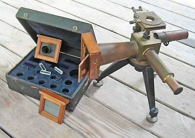 c1897 Brass & Steel Henri Le CHATELIER METALLURGICAL Microscope Camera System