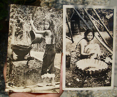 2 X vintage NOKO & AZO Photo Postcards of 2 young rural girls...maybe Indonesia?