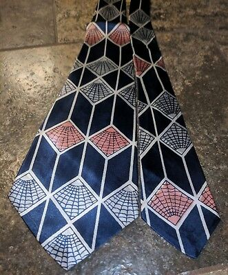 1940s 1950s SPIDER WEB GEOMETRIC SHAPES SWING MID CENTURY ROCKABILLY TIE CRAVAT