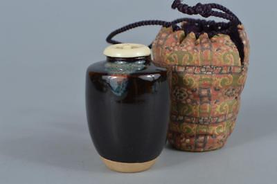 R299: Japanese Kiyomizu-ware Seto glaze TEA CADDY Chaire Container Shifuku