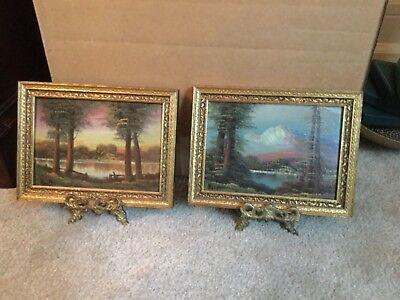 Pair of vintage/antique original framed oil on board painting. Both signed.