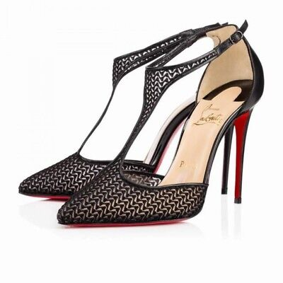 100% Authentic New Women Louboutin Salonu 100 Maille Chevron Heels/pumps Us 8.5