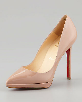 100% Authentic New Women Louboutin Pigalle Plato 120 Nude Pumps/heels Us 9.5