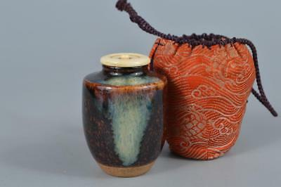 R290: Japanese Kiyomizu-ware Brown glaze TEA CADDY Chaire Container Shifuku