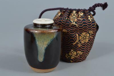 R267: Japanese Kiyomizu-ware Seto glaze TEA CADDY Chaire Container Shifuku