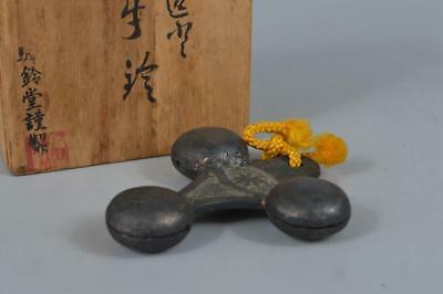R250:Japanese Copper Shapely BELL w/signed box Buddhist art