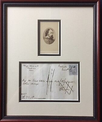 Gallery framed autograph & CDV of Alfred Lord Tennyson cancelled check & stamp
