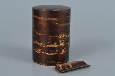 R247: Japanese Wooden Cherry bark art TEA CADDY Chaire Container Tea Ceremony