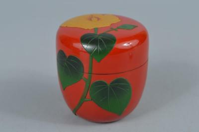 R231: Japanese Wooden Lacquer ware Flower sculpture TEA CADDY Natsume Chaire