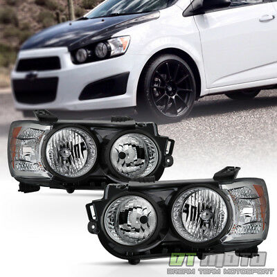 2012-2016 Chevy Sonic Headlights Headlamps [Black Bezel] Replacement Left+Right