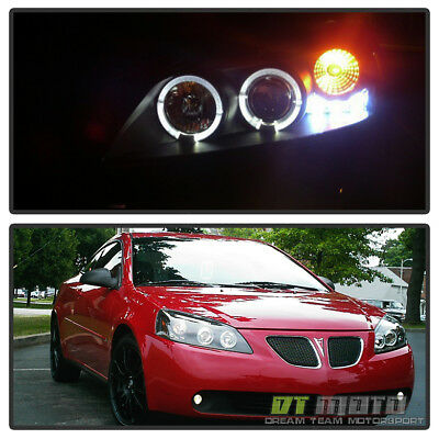 Blk 2005-2010 Pontiac G6 LED Halo Projector Headlights Lamps Left+Right 05-10