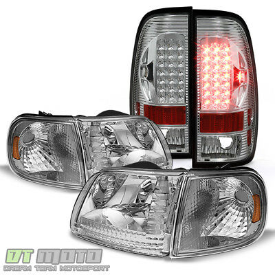 1997-2003 Ford F150 Headlights Headlamps+LED Tail Lights Brake Lamps Left+Right