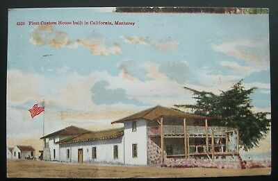 First Custom House Built in California, Monterey Postcard 1918 Pacific Grove