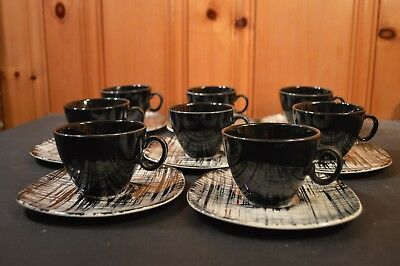 Edwin Knowles Ebonette 8 cups and saucers mid century modern 1950s
