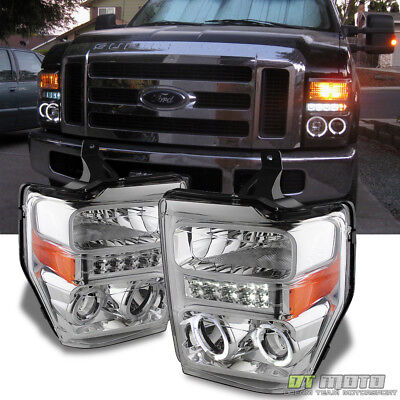 2008 2009 2010 Ford F250 F350 F450 SD LED Halo Projector Headlights Headlamps