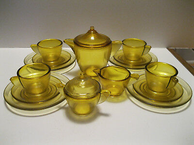 Akro Agate  large 17 piece childs tea set amber stippled band