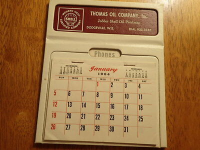 Vintage 1954 Shell Advertising Calendar/thomas Oil Co./dodgeville,wisconsin