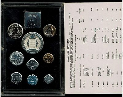 Republic Of India 9-Coin Proof Set 1973 In Case With Certificate
