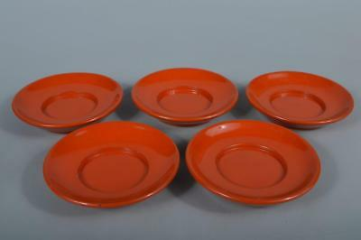 M9628: Japanese Wooden Lacquer ware TEA CUP TRAY Saucer Chataku 5pcs