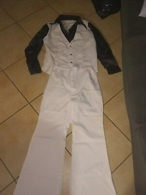 Elvis Like Costume White Black size medium men party night with shoes contest