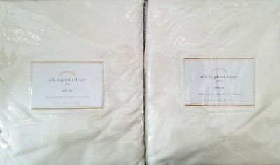 "2 Pottery Barn Silk Dupioni Pole Pocket Drapes ~ 50"" X 96"" ~ IVORY"
