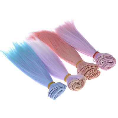 High-temperature Silk Long Straight Gradient Colors False Hair Wigs For BJD Doll