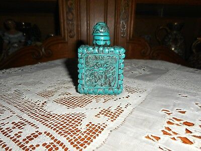Vintage turquoise carved snuff bottle