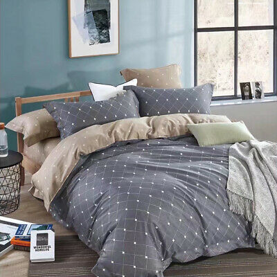 All Size Bed Quilt Duvet Doona Cover Set Natural Cotton Bedding