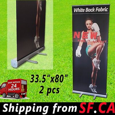 """33.5""""x80"""",Standard Aluminum Retractable Roll Up Banner Sign Display 2 Pack"""