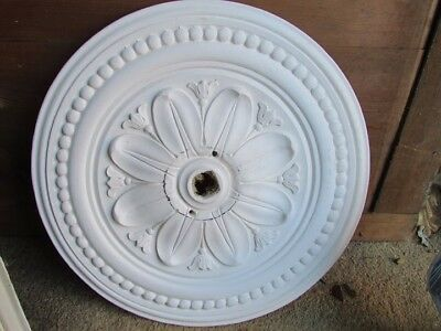 Plaster Ceiling Rose, Decorative Leaf pattern white,40.5cm diameter approximate