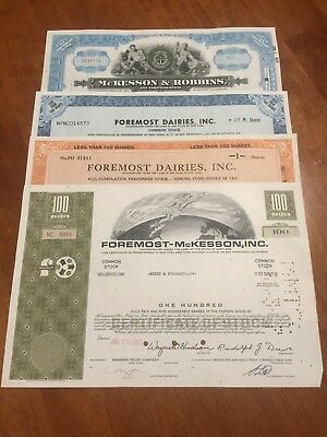 McKESSON & ROBBINS, INCORP and more - Old share stock certificates - dated 1944