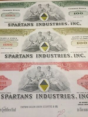 SPARTANS INDUSTRIES, INC. - Old share stock certificates - dated 1969