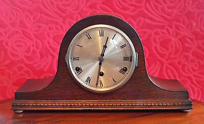 Vintage 'Napoleon Hat' 8-Day Oak Mantel Clock 'Foreign' with Wesminster Chimes