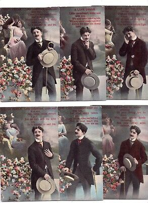 6 x Postcards A Love Dream Early 1900's Set of 6 Love Song Like Valentines 1184
