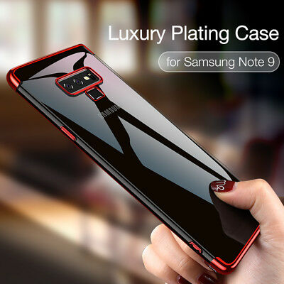 For Samsung Galaxy Note 9 8 S9 Plating Clear  Slim TPU Soft Silicone Case Cover
