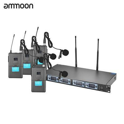 Ammoon 4S 4 Channel UHF Wireless Lavalier Lapel Collar Microphone System Q7Y4