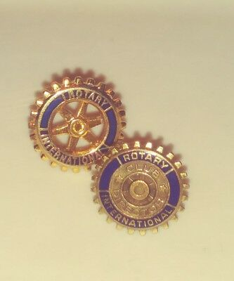 2 Pins- Rotary International Club Director GF & Rotary Wheel Tie Tack Lapel Pins