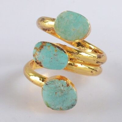 Defective Size 6 Natural Genuine Turquoise Adjustable Ring Gold Plated B056367