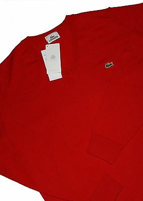 eb6136debf PULL LACOSTE SANS manche Tim SA Rouge Tennis Homme Vintage Made in ...