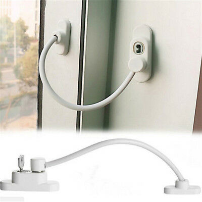 Lockable Window Security Cable Lock Door Restrictor Child Safety Stainless KeyHH