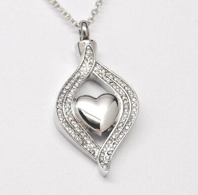 Cremation Jewelry, CZ Heart Urn Necklace, Alternative April Birthstone