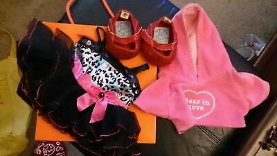 Build a Bear Hello Kitty Party DRESS Wiz OZ Dorothy Red SHOES Hoodie LOT Clothes