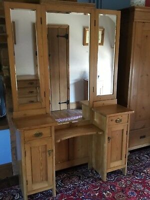 Antique Pine Triple Mirror Vanity Stand